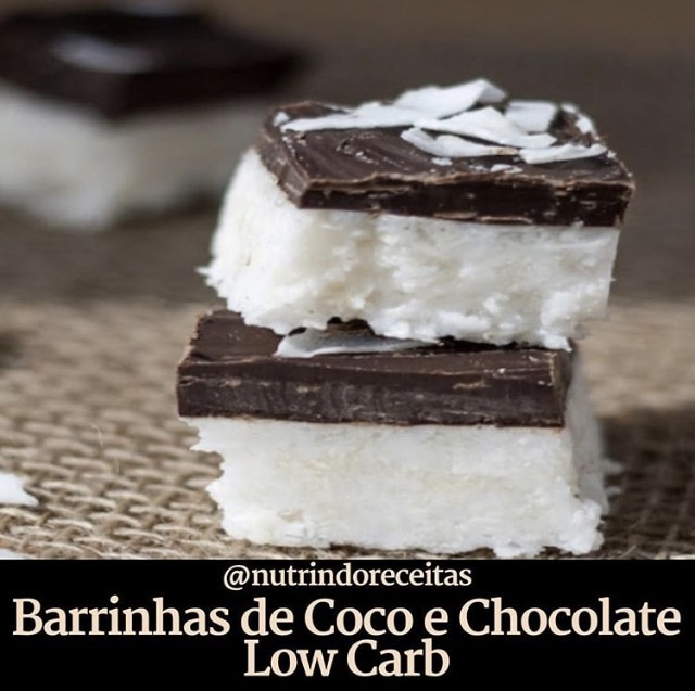 Barrinhas de Coco e Chocolate Low Carb